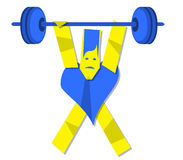 Illustration of heart man carrying dumbbells. Blue and yellow Character of an heart man carrying dumbbells Stock Photo