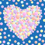 Illustration of heart from multi-colored confetti. royalty free illustration