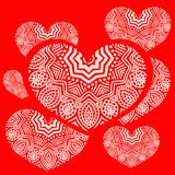 Illustration of a heart and ornament. Vector illustration of a heart and ornament, red background Royalty Free Stock Photos