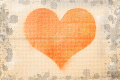 Illustration heart painted on concrete. Texture Stock Image