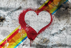 Illustration heart painted on wall. Illustration heart painted on grunge wall Stock Image