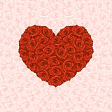 Illustration of heart from red roses on background made from pin. K rose Stock Photography