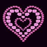 Illustration heart of roses on dark background. Illustration heart of pink roses on dark background Stock Photo