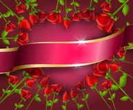 Illustration of heart set of red roses with pink ribbon. Illustration of red roses in heart shape decorated with pink ribbon Stock Photography