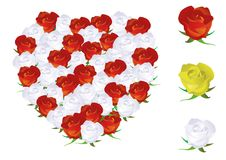 Illustration of a heart shape made from roses. Stock Images