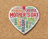 Heart shape mother`s day wordcloud on noticeboard royalty free stock image