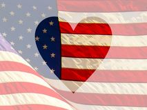 Heart On American Flag Faded Background. Illustration of heart shape on United States flag Royalty Free Stock Photography