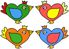 Illustration of heart shaped bird in four color variations Stock Photography
