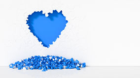 Illustration of Heart-shaped broken wall. 3d illustration of Heart-shaped broken wall. free area on right side for text. suitable for day valentines. blue color Stock Photo