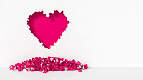 Illustration of Heart-shaped broken wall. 3d illustration of Heart-shaped broken wall. free area on right side for text. suitable for day valentines. pink color Stock Photography