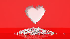 Illustration of Heart-shaped broken wall. 3d illustration of Heart-shaped broken wall. suitable for day valentines Stock Photo