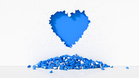 Illustration of Heart-shaped broken wall. 3d illustration of Heart-shaped broken wall. suitable for day valentines. blue color variation Royalty Free Stock Photography