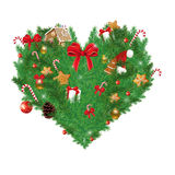 Illustration of Heart shaped Christmas pine with various Christmas items Stock Images