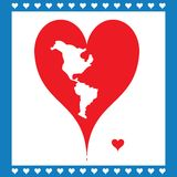 Illustration Heart Symbolizing American map Royalty Free Stock Photography