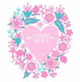 Illustration of heart with the word love and arrow framed by flowers. Stock Photos