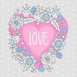 Illustration of heart with the word love and arrow framed by flowers.  Royalty Free Stock Images