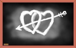Illustration of Hearts on black chalk board. Royalty Free Stock Image