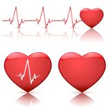 Illustration of hearts with heartbeat. Illustration of different types of hearts with heart beat isolated on white background, vector illustration Royalty Free Stock Images