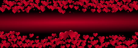 Illustration of hearts on a red background centered Stock Photography