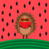 Illustration with hedgehog with piece of watermelon Stock Photos