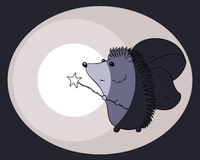 Illustration hedgehog shines in the dark. Hedgehog image on a dark background with a glowing magic wand Stock Illustration
