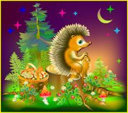 Illustration of hedgehog sitting on stump in a forest. Royalty Free Stock Image