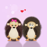 Illustration of hedgehogs in love Royalty Free Stock Images