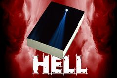 Entrance in to the hell. Illustration of the hell made of red flames, empty book cover and word hell Stock Image