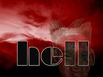 Entrance in to the hell. Illustration of the hell made of red sky, ancient mask i word hell Stock Photography