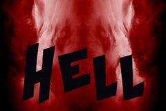 Entrance in to the hell. Illustration of the hell made of red sky and word hell Stock Photos