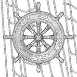 Illustration of an helm in the zentangle style. Hand drawn illustration of an helm in the zentangle style. Adult antistress coloring page with marine handwheel Stock Photography