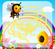Help bee find path to beehive. Illustration of Help bee find path to beehive Royalty Free Stock Image