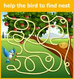 Help the bird to find nest vector illustration