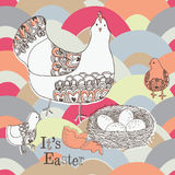Illustration of hen, chicks, nest with eggs Royalty Free Stock Photography