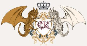 Illustration with heraldic coat of arms, crest and dragons ideal. For logotype design Stock Image