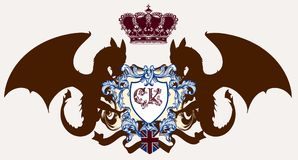 Illustration with heraldic coat of arms, crest and dragons ideal. For logotypes Stock Photography