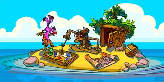 The illustration of hermit with parrot on an island. The hermit playing the game with a pink parrot. Sunny weather, a hut, map and ocean. Blue sky and white Royalty Free Stock Photo