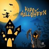Illustration heureuse bleu-foncé de fond de Halloween avec l'ange de mort illustration libre de droits