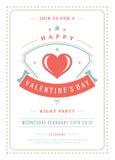 Illustration heureuse d'invitation de partie de jour de valentines ou de vecteur d'affiche Image stock