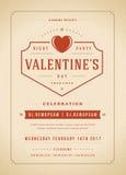 Illustration heureuse d'invitation de partie de jour de valentines ou de vecteur d'affiche Images stock