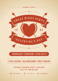 Illustration heureuse d'invitation de partie de jour de valentines ou de vecteur d'affiche Images libres de droits