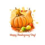 Illustration heureuse de bannière de jour de thanksgiving avec les potirons décorés et l'art numérique jaune de pommes rouges et  Photos stock