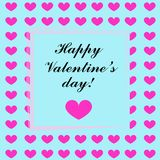 Illustration heureuse de carte de jour de valentines avec les coeurs roses Image libre de droits