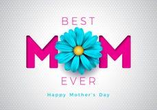 Illustration heureuse de carte de voeux de jour de mères avec la conception typographique de fleur et de maman sur le fond blanc  illustration stock