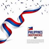 Illustration heureuse de conception de calibre de vecteur de célébration de Jour de la Déclaration d'Indépendance de Philippines illustration stock