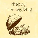 Illustration heureuse de jour de thanksgiving Gribouillez la dinde brune tirée par la main, fond jaune d'aquarelle Carte de voeux Photo stock
