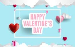 Illustration heureuse de jour du ` s de Valentine ballons roses et rouges d'art de papier de coeurs Nuages de papier en ciel bleu illustration stock
