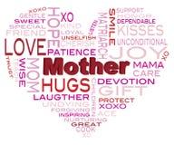 Illustration heureuse de nuage de Word de jour de mères Image libre de droits