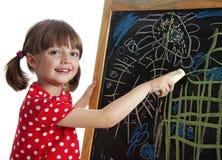 Illustration heureuse de retrait de petite fille images libres de droits