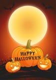 Illustration heureuse de vecteur d'affiche de pleine lune de Halloween Photo libre de droits
